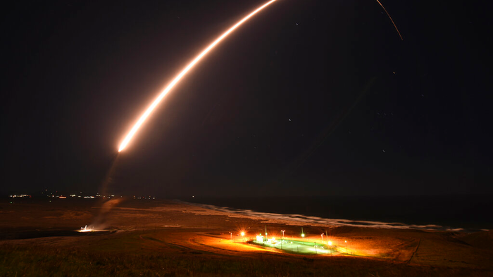 An unarmed Minuteman 3 intercontinental ballistic missile launches during a test at Vandenberg Air Force Base, Calif., Feb. 23, 2021.  - AP21134547951908 - Vandenberg to Be Renamed Space Force Base